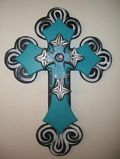 Turquoise and Zebra Layered Wooden Cross. via Etsy. Wooden Crosses, Crosses Decor, Wall Crosses, Painted Crosses, Decorative Crosses, Mosaic Crosses, Monet, Old Rugged Cross, Cross Art