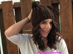 slouchy hat brown hat women's brown hat by Toocutecrochetbydian