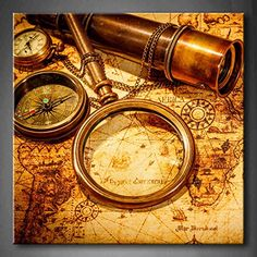 Brown Vintage Magnifying Glass Compass Telescope And A Pocket Watch Lying On An Old Map Wall Art Painting The Picture Print On Canvas Abstract Pictures For Home Decor Decoration Gift (Stretched By Wooden Frame,Ready To Hang) Firstwallart
