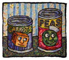 Roz Chast Carrots and Peas, 2013 hand-hooked rug, wool, burlap 20 x 24 inches