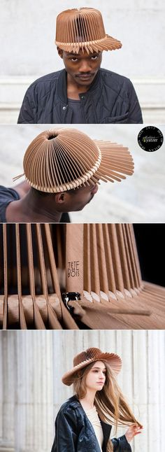 BEST OF MILAN DESIGN WEEK 2013 | http://www.yatzer.com/best-of-milan-design-week-2013 / Design wooden headwear by Andrea Deppieri for Tête de bois.