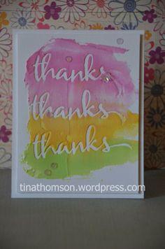 embossing paste thanks card  #winniewalter