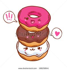 Group of three cute kawaii donuts. Good for t-shirt design. - stock vector