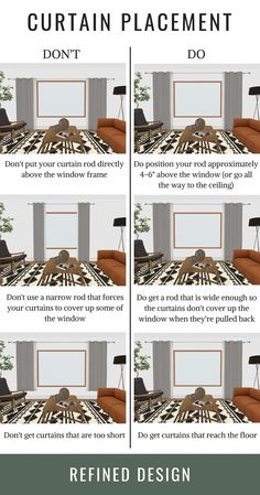 The do's and don'ts of curtain placement. How to hang your curtains the right way. The rules and guidelines to hanging your curtain and curtain rod. curtains THE DO'S + DON'TS OF CURTAIN PLACEMENT Home Living Room, Living Room Decor, Curtain Ideas For Living Room, Curtains In Living Room, Livingroom Curtain Ideas, Small Condo Living, Blinds For Windows Living Rooms, Narrow Living Room, Living Room Colors