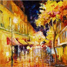 City of Rain PALETTE KNIFE Oil Painting On Canvas By Leonid Afremov... ❤ liked on Polyvore