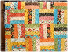 Scrappy Baby Quilt Rail Fence