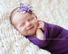 Skinny elastic lavender purple flower by BambaroosBoutique on Etsy, $9.50