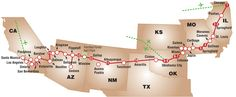 Route 66 Map - Start to Finish - miles km) of two-lane highway, was once the main artery between Chicago to Los Angeles Route 66 Map, Route 66 Road Trip, Travel Route, Us Road Trip, Travel Info, Travel List, Us Travel, Travel Ideas, Historic Route 66