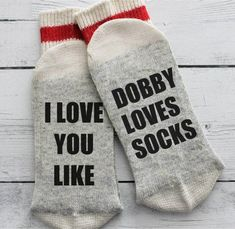 Who would not love a set of these?! I love you like Dobby loves socks are perfect for the Harry Potter fan in your life. A unique gift, sure to get people talking! Each set of socks are custom cut and professionally pressed in our shop. We use professional grade vinyl and heat press. Each pair comes with washing instructions. Attention to detail and quality goes into each pair - due to the fact these are hand pressed, each pair may differ slightly. Check out our other listings for wine…