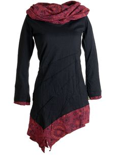 Shop Vishes Women's Asymmetric Plain Long Sleeve Dress - Red - Free delivery and returns on eligible orders. Dress With Shawl, Dress With Boots, Warm Dresses, Cotton Dresses, Black Long Sleeve Dress, Dress Black, T Shirt And Jeans, Layered Look, Collar Dress