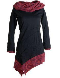 vishes Kleid warm Tunika Longsleeve mit grosem Kragen Lagenlook Kleid