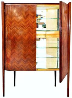 Gorgeous - wood tones/design are amazing!   Paolo Buffa Bar Cabinet 1st Dibs