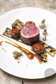 Lamb, Chargrilled Eggplant and eggplant purée Gourmet Recipes, Cooking Recipes, Good Food, Yummy Food, Yummy Lunch, Beef Dishes, Molecular Gastronomy, Restaurant Recipes, Creative Food