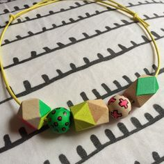 Geo neon necklace wooden beads hand painted £22.00