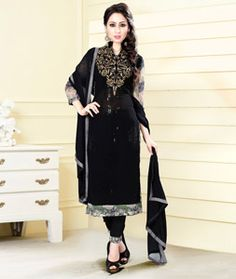 Buy Black Georgette Pakistani Style Suit 75757 online at lowest price from huge…