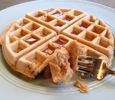 Peanut Butter Protein Waffles - yum! 1 scoop protein powder + oat flour + PB2 + 1 egg and done. So simple, packed with nutrition and so good!  calories 291, 6 g fat, 1 g saturated fat, 32 g carbs, 4 g fiber, 6 g sugar, 30 g protein