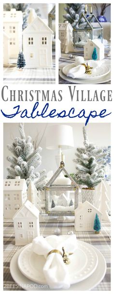 Christmas Village Tablescape. Christmas tablescape. White christmas houses. Winter village tablescape. White ceramic houses Christmas decor. Flocked christmas tree. Vintage brass deer napkin ring.