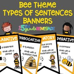 Types of Sentences Banners with a *Bumblebee Bee* Theme Types Of Sentences, Bee Theme, Classroom Themes, Grade 1, Make Me Smile, Teaching Resources, Banners, School, Photos