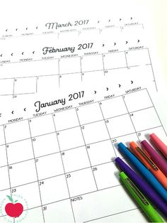 Free printable calendars for 2017.  These are perfect for student accountability and self-monitoring.