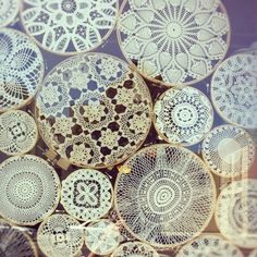 Doily collage for large wall space