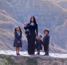 Making memories: Kim Kardashian organized a photo shoot at the historic Temple Of Garni with her daughters North, Chicago, and sons Saint and Psalm in Armenia on Thursday