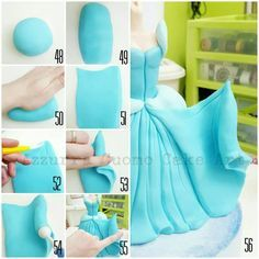 """Cinderella complete pictorial"" the lower part of the gown – Cakes… ""Cendrillon complète picturale"" # N ° le bas de la blouse – CakesDecor Fondant Icing, Fondant Toppers, Cake Decorating Techniques, Cake Decorating Tutorials, Crea Fimo, Owl Cakes, Cake Templates, Barbie Cake, Fondant Tutorial"