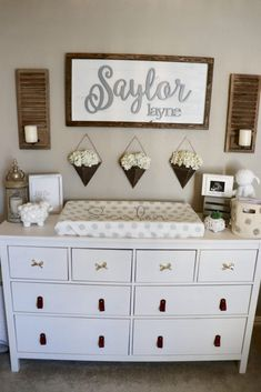I am not a major pink fan, so my goal was to create a classy, sweet feminine nursery without it! I used a neutral white, ivory, and gray palette with a priority for texture. I love the added wood elements and how it brings the entire design together. This is definitely my favorite room in our home! Love it so much. <3 Cute Baby Names, Baby Girl Names, Cute Babies, Dresser, Boys, Wall, Girl Nursery, Furniture, Future Baby