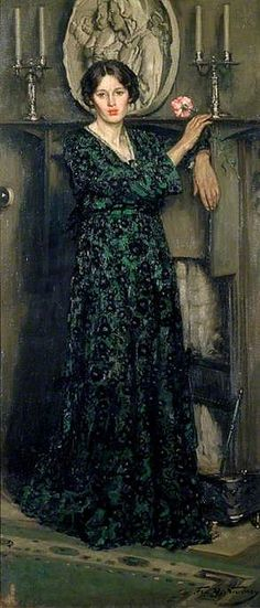 ▴ Artistic Accessories ▴ clothes, jewelry, hats in art - Francis Henry Newbery | The lady of the carnation