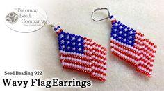 Wavy American Flag Beaded Earrings
