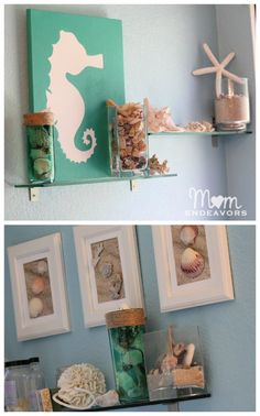 Bedroom , Beach Themed Bathroom for Fresh and Super Look : Chic Master Bathroom With Beach Decor For Nice Look Beach Theme Bathroom, Mermaid Bathroom, Beach Room, Beach Bathrooms, Wedding Bathroom, Seashell Bathroom Decor, Ocean Beach, Ideas Baños, Decor Ideas