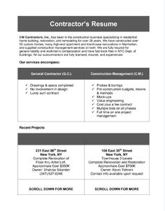 General Contractor Resume example resume general objective for resume resume for General Contractor Resume