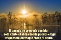 ... El pasado no se puede cambiar. Sólo existe el ahora donde puedes elegir los pensamientos que crean tu futuro.