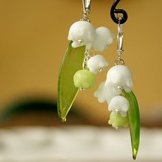 May lily lampwork earrings Lily of the valley by KatyaGlass