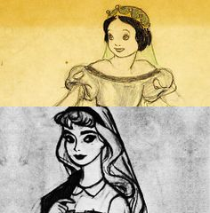 Concept art for Snow White and Sleeping Beauty. I wonder if maybe that isn't an early design for a wedding dress for Snow White what with the veil. :)