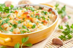 Baked Potato Casserole   A baked potato sprinkled with cheese and sour cream? Delicious. All the makings of a baked potato in an entire cass...