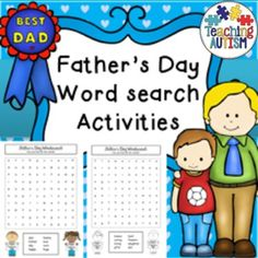 Father's Day Wordsearch - Printable No Prep  This product includes 3 x word searches for father's day topic. 2 different levels included, black and white option also included for each easy word search.