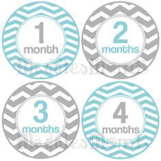 Monthly Baby Stickers, Milestone Stickers, Baby Month Stickers, Monthly Bodysuit Sticker, Monthly Stickers Gender (Neutral Chevron Blue) on Etsy, $8.99