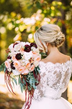 Burgundy and peach fall wedding bouquet / http://www.deerpearlflowers.com/autumn-fall-wedding-ideas/