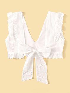 Eyelet Embroidery Tie Back Crop Blouse Sari Blouse Designs, Kurta Designs, Blouse Styles, Cropped Plus Size, Plus Size Women's Tops, Geometric Fashion, Fancy Dress Design, Stylish Sarees, Crop Top Outfits