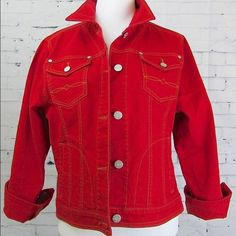 HOST PICK CAbi  red denim western jacket CAbi red denim western style 606 jean jacket. This is a great jacket in excellent condition! CAbi Jackets & Coats Jean Jackets