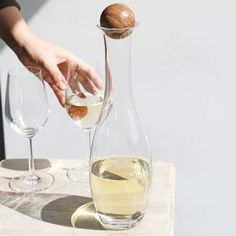 Wine Carafe With Oak Stopper by Lisa Angel, the perfect gift for Explore more unique gifts in our curated marketplace. Best Wine Decanter, Wine Carafe, Wine Dispenser, Solid Oak, White Wine, Wine Glass, Barware, Lisa Angel, Thesis