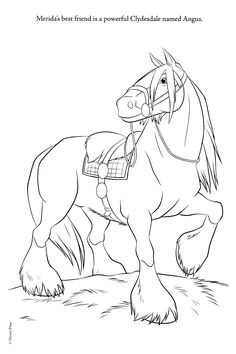 Brave coloring pages - horse Angus brave Photo