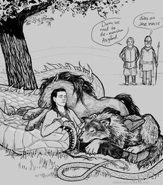 """Awwww! Loki and his pets. (Or """"Norse mythology blamed Loki for having lots of children because Thor got a little drunk and told twisted tales."""")"""