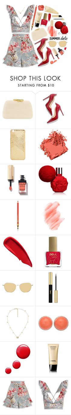 """Summer Date Night: Golden Garden"" by the-amj ❤ liked on Polyvore featuring Serpui, M. Gemi, Bobbi Brown Cosmetics, Estée Lauder, Birchrose + Co., Sisley, ncLA, Yves Saint Laurent, Gucci and Topshop"