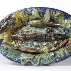 Important Bassin, Thomas Sergent Jérôme Massier, colonne aux putti, vers 1890-1900, #galerievauclair #thomassergent  #ceramic #ceramique #paris #gallery #palissyware