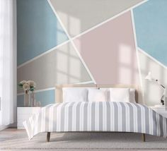 Colorful Geometry Mountains Wallpaper , Simple Geometry Wall Mural Wall Decor for Living or Dinning Room Bedroom Colors, Bedroom Decor, Wall Decor, Bedroom Wall Designs, Traditional Wallpaper, Wall Murals, Interior Design, Striped Walls Bedroom, Girl Bedroom Walls