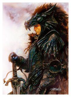 Black Dragon Warrior by Leonardo Manco, or like i picture Aegon the Conqueror, GoTepic
