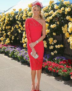 Jennifer Hawkins. Cup is all about colour. Yeojin Bae dress and Nerida Winter hat.