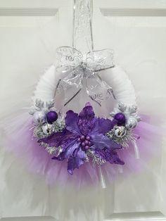 Christmas wreath tulle wreath purple and silver wreath
