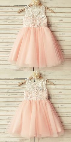 A-Line Dresses,Round Neck Dresses,Short Flower Girl Dresses,Pink Flower Girl Dresses,Tulle Flower Girl Dresses,Lace Flower Girl Dresses,Flower Girl Dresses Tutu,Cute Flower Girl Dresses